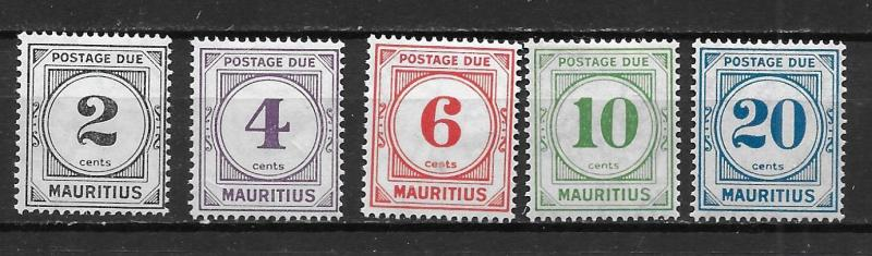 Mauritius J1-5 1933 Postage Dues NLH