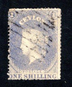 Ceylon #34, F/VF, Used, Wmk. 6, CV $17.50 ....  1290025