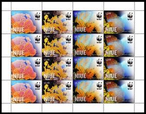 Niue WWF Giant Sea Fan Corals Sheetlet of 4 sets SALE BELOW FACE VALUE