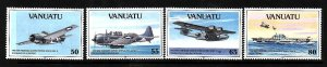 Vanuatu-Sc#560-3-unused NH set-WWII-Planes-Ships-1992-