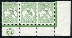 Australia SG1 1/2d First Kangaroo with JBC Monogram M/M