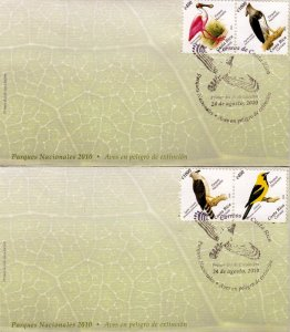 COSTA RICA NATIONAL PARKS,BIRDS IN DANGER OF EXTINCTION Sc 635 SET of 2 FDC 2010