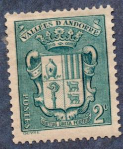 French Andorra #66 2c Coat of Arms MH (1937)