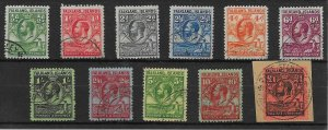 FALKLAND ISLANDS SG116/26 1929-37 WHALES & PENGUINS SET USED