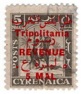 (I.B) BOIC (Tripolitania) Revenue : Duty Stamp 5m on 5m OP