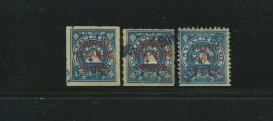 VIrgin Islands RF2-RF3 Playing Cards Revenue Lot of 3 Stamps (DWI RF3-A1)