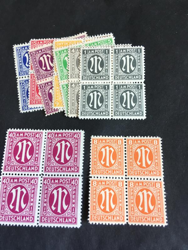 Germany 1945 A.M.G. Issues 2015 Sc. #3N1//3N15 Mint Cat. $17. Ten Diff. Blocks