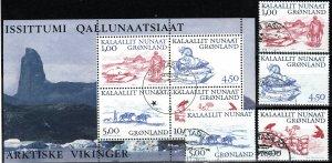 Greenland #380-83, 383a  F-VF Used CV $16.50 (X5295L)