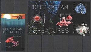QD1658 2011 SIERRA LEONE DEEP OCEAN CREATURES FISH & MARINE LIFE FAUNA KB+BL MNH