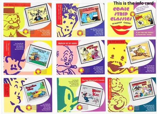 Set of Comic Strip Classic Stampers Cards & MNH stamps (Scott 3000a-t) in mounts