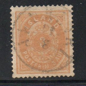 Iceland  Sc 15 1882 3 aur orange stamp used