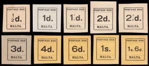 Malta Scott J1-J10 (1925) Mint LH VF Complete Set, CV $70.40