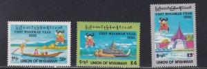 Burma (Myanmar) #  328-330, Visit Myanmar Year, NH, 1/2 Cat
