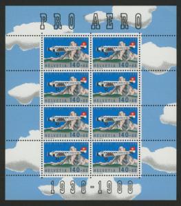 Switzerland B541 Sheet MNH Junkers 52, the Matterhorn, Aircraft