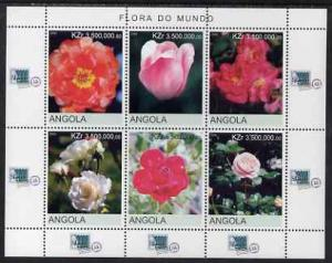 Angola 2000 Flowers #1 perf sheetlet containing 6 values ...