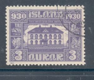 Iceland Sc 152 1930 3 aur Parliament Building stamp used