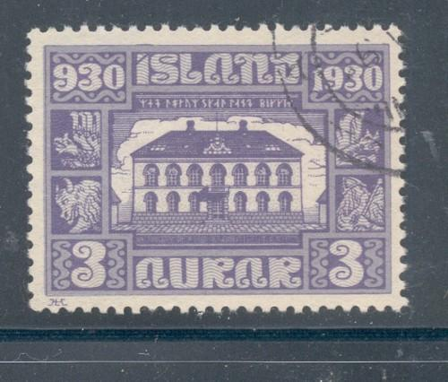 Iceland Sc 152 1930 3 aur Parliament Building stamp used