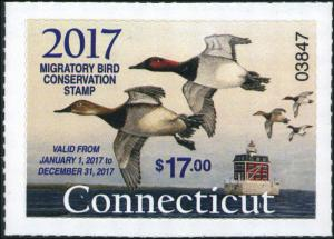 CONNECTICUT  #24 2017 STATE DUCK STAMP  CANVASBACK / LIGHTHOUSE by Mark Thone