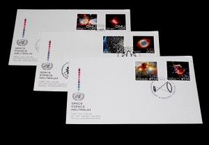 U.N. 2013, SPACE, NEBULAE, SINGLES ON FDCs, ALL 3 OFFICES, NICE LQQK