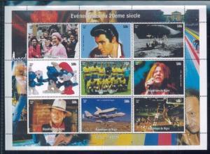 1970's EVENTS JanisJoplin, John Wayne, Elvis... Mini Sheet of 9 MNH - Niger E37