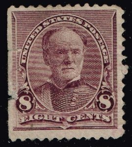 US STAMP #225 – 1893 8c Sherman, lilac USED STAMP TEAR