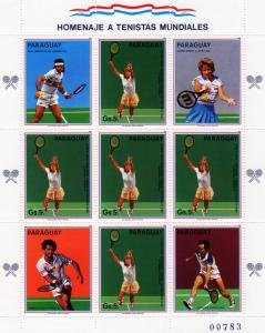 Paraguay 1985 TENNIS PLAYERS Mini Sheet 5v + 4 labels Perforated Mint (NH)