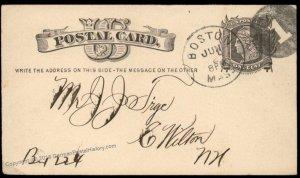 USA 1800s Boston Mass Negative Numeral 1 Fancy Cancel Cover 94891
