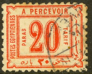 EGYPT 1884 20pa Red WMKD Postage Due Sc J2 VFU