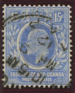 East Africa & Uganda - Scott 36- KEVII Definitive -1907 - Used- Single 15c Stamp