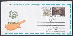 CYPRUS 2006 Postage Paid + 1c aerogramme used Nicosia to New Zealand........K178