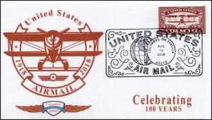 18-204, 2018, Airmail, Event Cover, Pictorial Postmark, 100 Years, Red