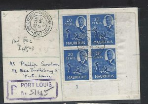 MAURITIUS COVER (P1311B)1953 KGVI 20C PLATE BL 4 #1 ON PPC, REG LOCAL