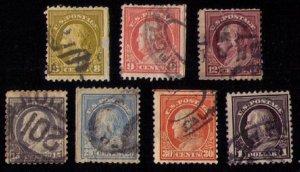 US  Scott #508-509,512,514,515-516,518 Franklin Used (Lot Of Seven) F-VF