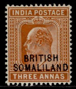 SOMALILAND PROTECTORATE EDVII SG28, 3a orange-brown, M MINT.