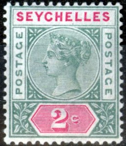 Seychelles 1890 2c Green & Carmine SG1 V.F Very Lightly Mtd Mint