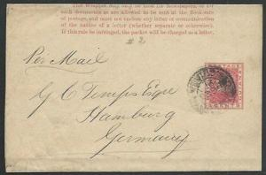 BR GUIANA 1891 2c newspaper wrapper used to Germany........................61481
