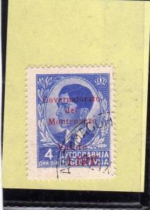 MONTENEGRO 1942 SOPRASTAMPA ROSSA RED OVERPRINTED VALORE LIRE 4 D USATO USED ...