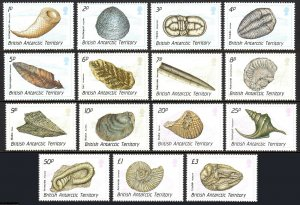 British Antarctic Territory 153-167, MNH. Fossils. Shells, 1990