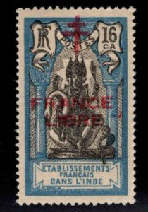 FRENCH INDIA  Scott 161 MH* France Libre  Brahma overprint