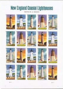 US Stamp - 2013 New England Lighthouses - 20 Stamp Imperf Forever Sheet #4795c