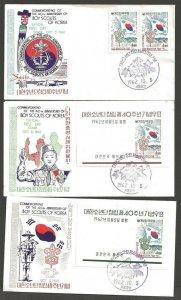 1962 Korea Boy Scout 40th anniv set & SS on FDCs (3)