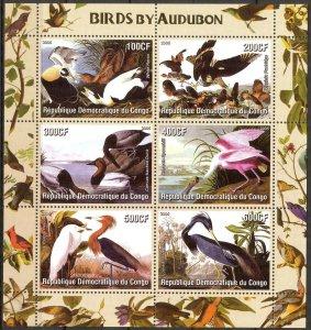 Congo 2005 Birds  by J. Audubon Sheet of 6 MNH Cinderella !