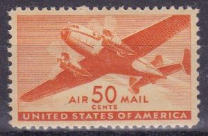 United States 1941 50cent Airmail Scott C31 Twin-Motored Transport. VF/NH/(**)