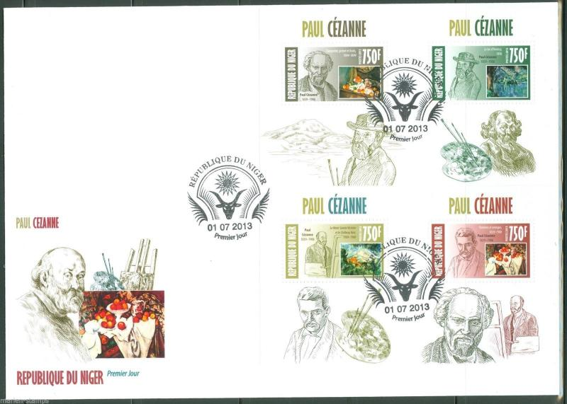 NIGER 2013 PAUL CEZANNE SET OF FOUR  SOUVENIR SHEETS  FIRST DAY COVER