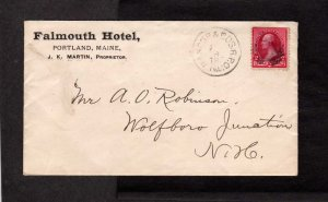 ME Falmouth Hotel Portland Maine Stamp Cover RPO Wolfeboro J NH New Hampshire