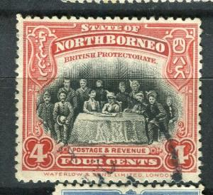 NORTH BORNEO; 1909 early Pictorial issue fine used 4c. value + Postal cancel