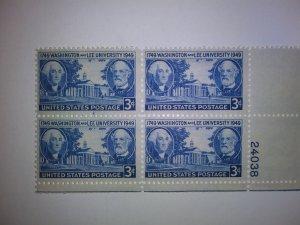 SCOTT # 982 WASHINGTON AND LEE PLATE BLOCK GEM !!  1949