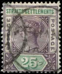 Straits Settlements SC# 86 Victoria 25c used