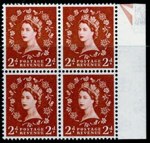 SG613, 2d light red-brown (1 BAND), NH MINT. Cat £72. BLOCK OF 4.
