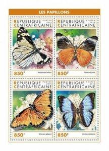 HERRICKSTAMP NEW ISSUES CENTRAL AFRICA Butterflies Sheetlet
